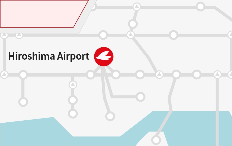 This page provides information about the routes and travel time from various directions if you want to access Hiroshima Airport by car or motorcycle. Click a starting point on the map for more details.